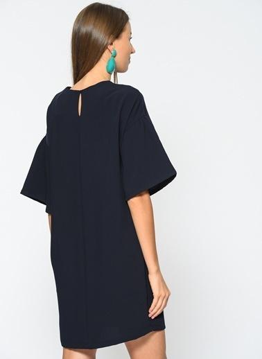 Loves You Kuşgözü Detaylı Crep Elbise Lacivert